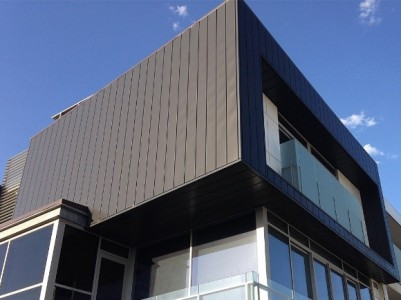Aluminium cladding on exterior wall of a modern house