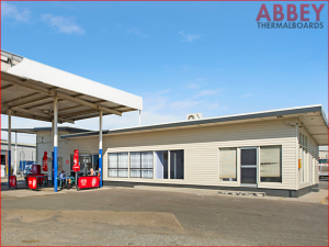 Petrol Station Wall Exterior after Vinyl Cladding, Modern Stylish look - Abbey Thermalboards