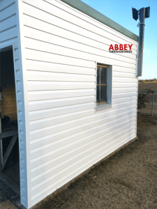 Shed after Abbey Cladding with Trim-Side view