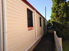 Abbey Thermalboards, Vinyl Cladding House in Maryborough, Side Gate After. Completed June 2019