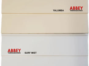 Abbey Thermalboards Aluminium Cladding Colour Yalumba and Surf Mist
