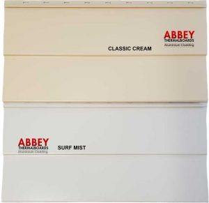 Aluminium Cladding Colours | Abbey Thermalboards - Classic Cream and Surf Mist