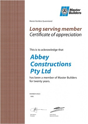 Long Serving Member Certificate of Appreciation - Master Builder, Abbey Constructions