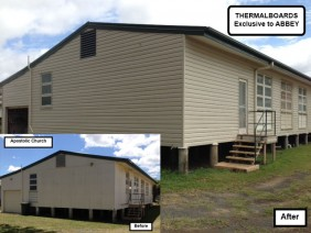 Before and after picture of the Apostolic Church Abbey installed cladding over.