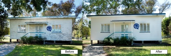 House cladding, before and after.