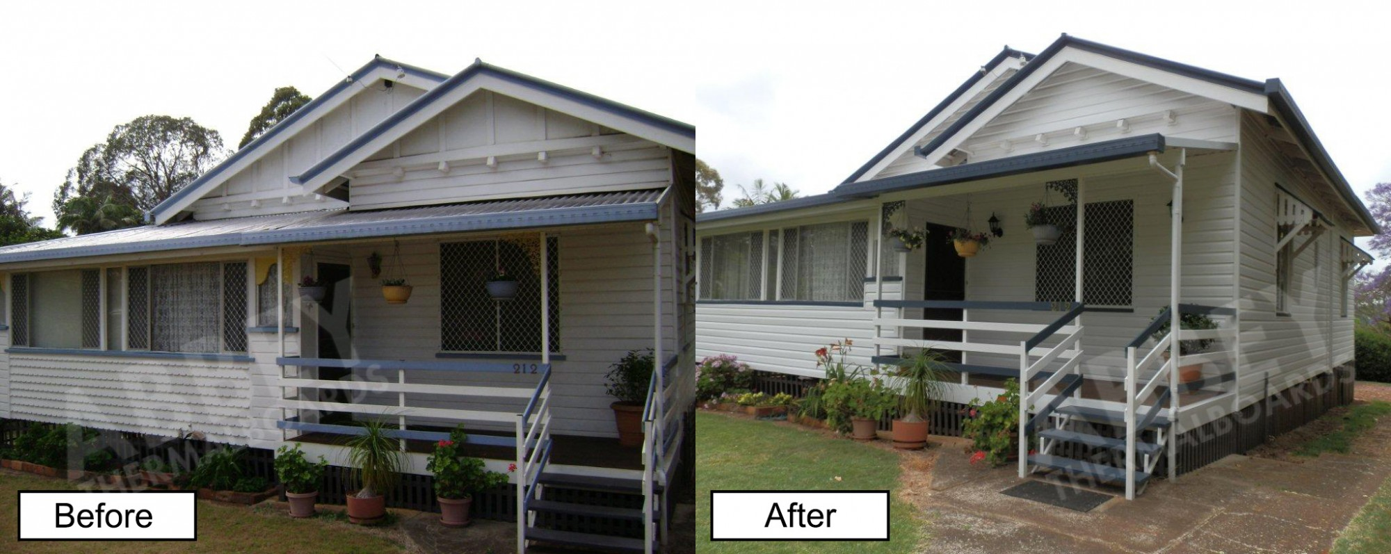 Before and After pictures of house cladding completed for a home.