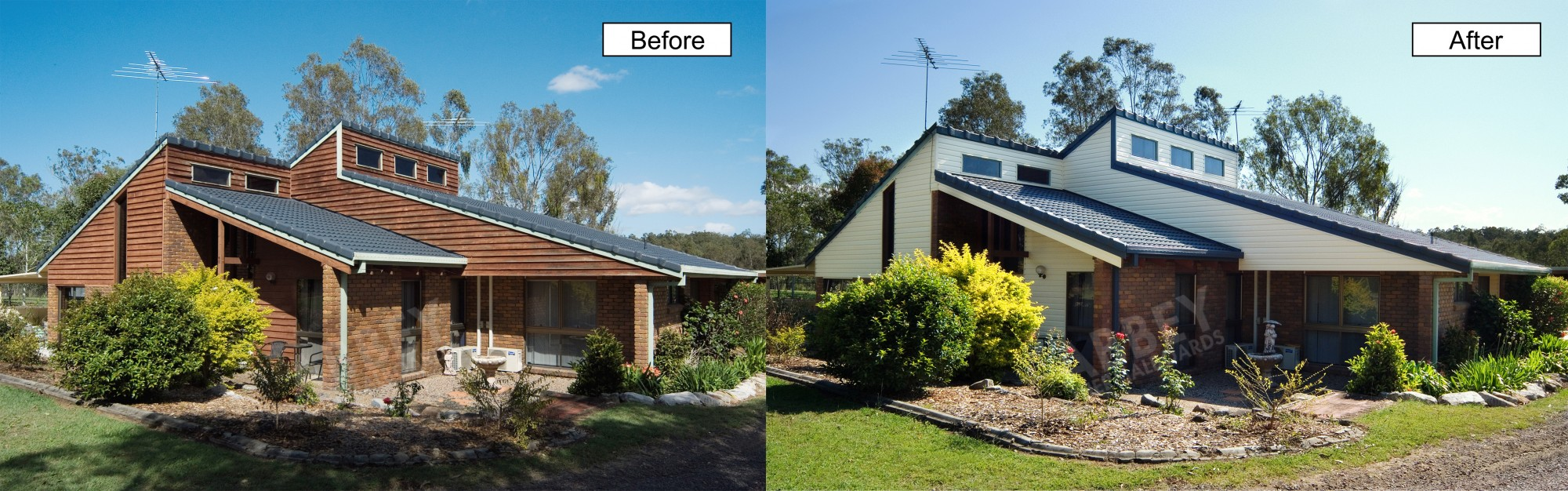 Cladding before and after shots of a home completed by Abbey Thermalboards.