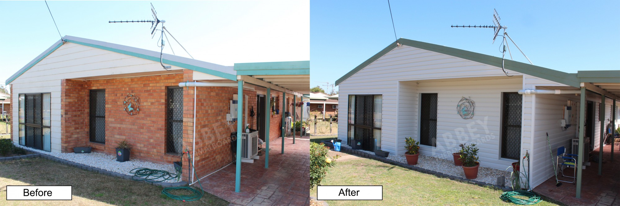 Before and after of cladding over brick applied to this large house.