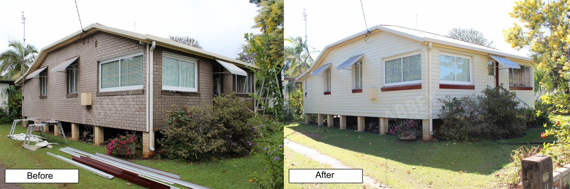 Before and after of a brick home that we completed fresh cladding over.