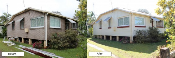 Before and after of house cladding work completed on a Townsville residence.