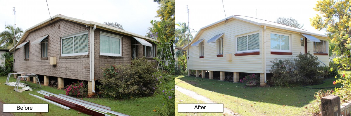Exterior cladding homes in Mackay - before and after.