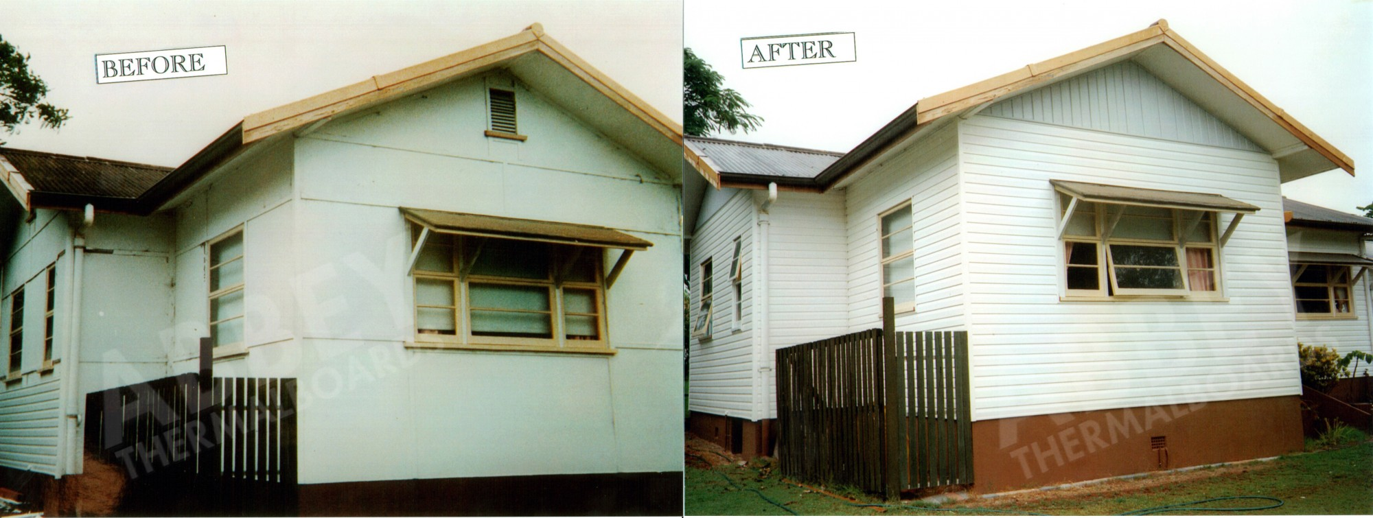 Before and after shot of house cladding completed in Cairns by Abbey.