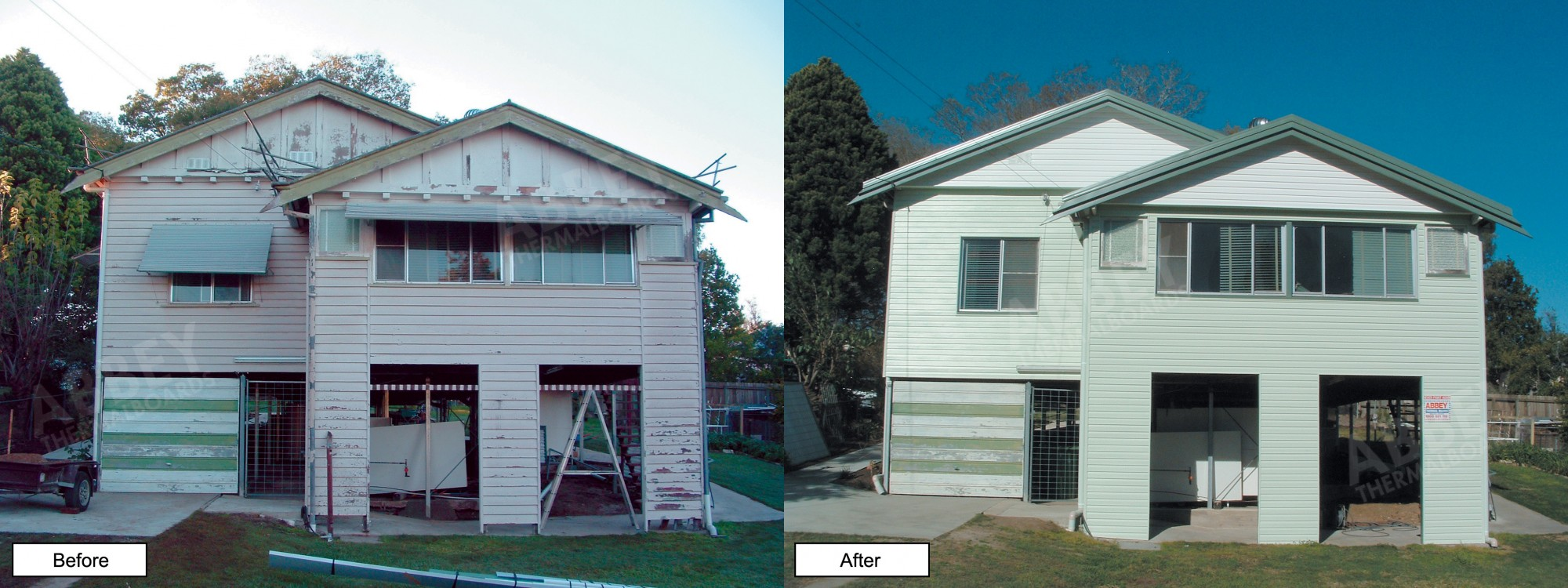 Before and after of house cladding