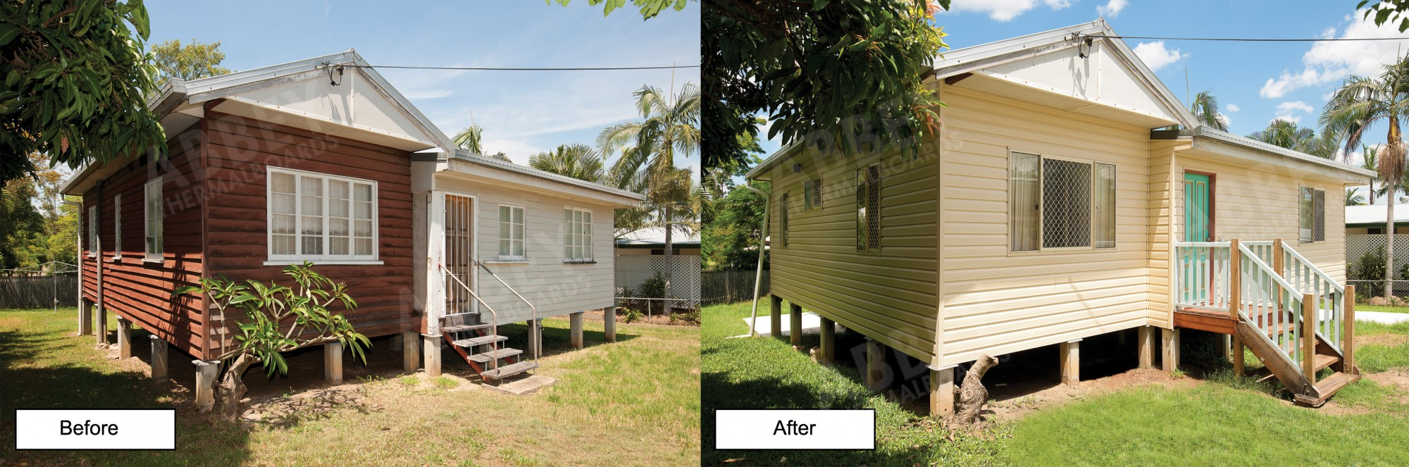 Before and after of this cladding job done by Abbey.