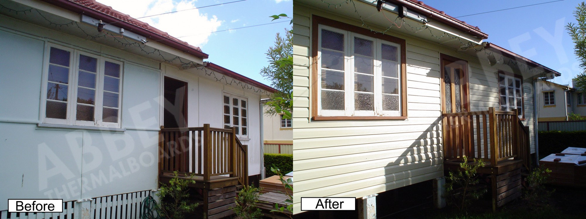 Close up view of before and after house cladding applied to the front of a home.