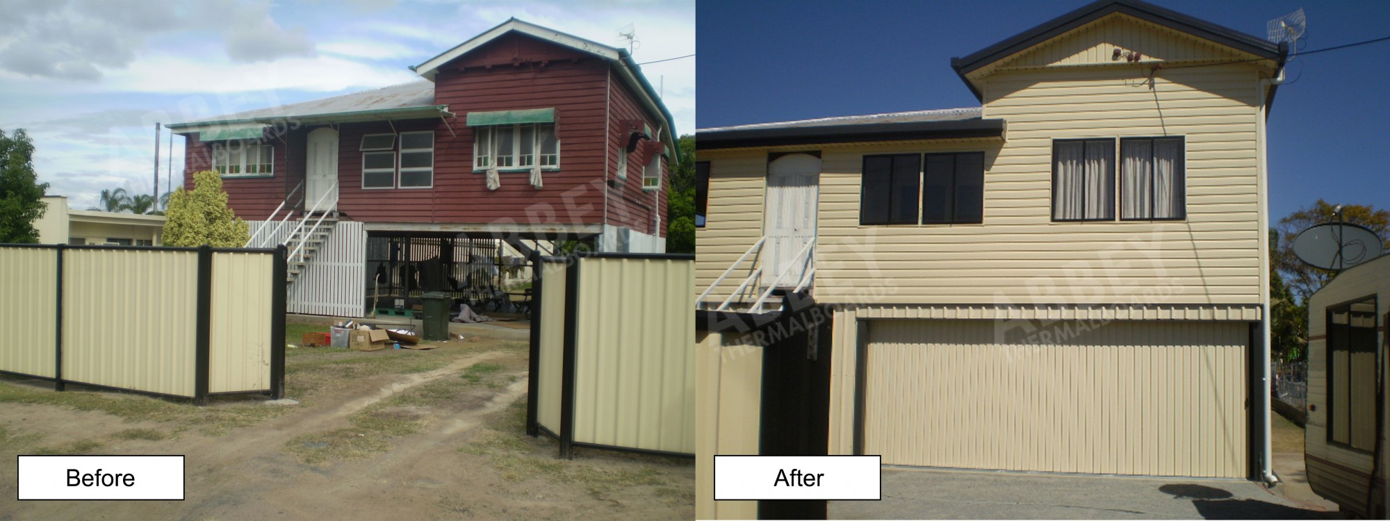 Before and after cladding shot of a Queenslander.
