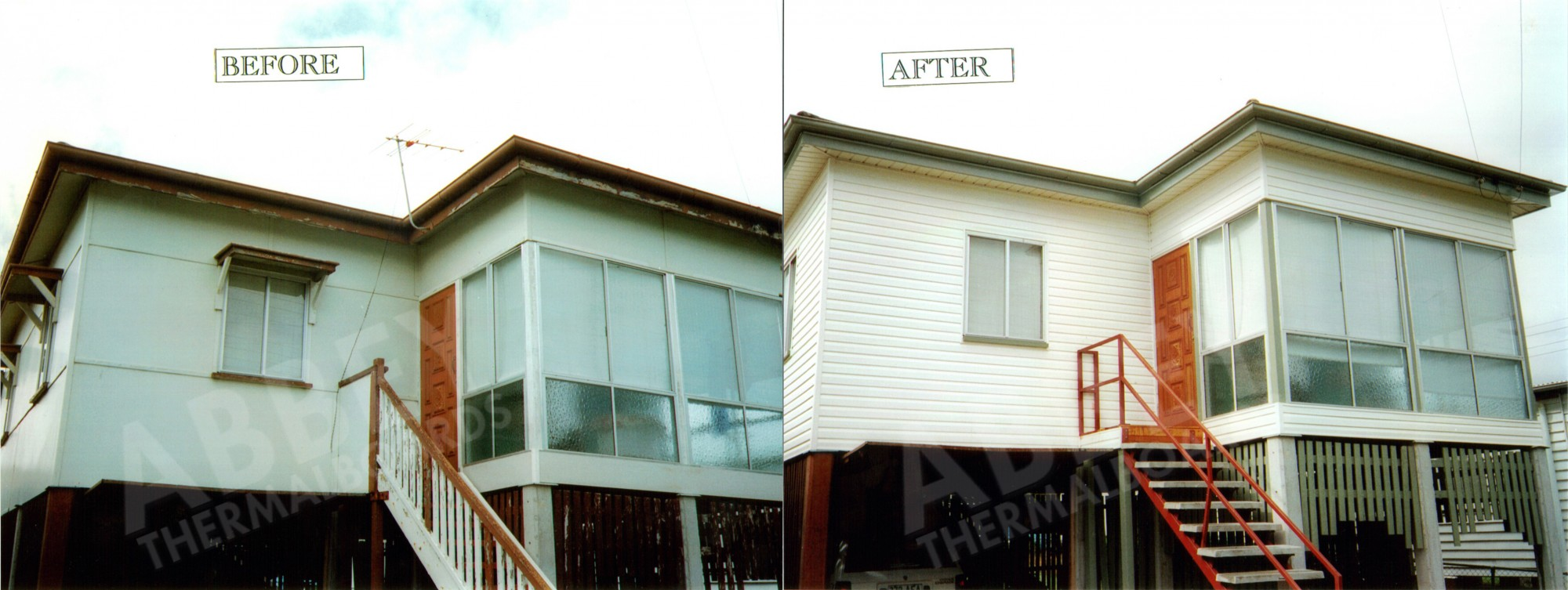 Cladding installed around the front door of this home showing before and after.