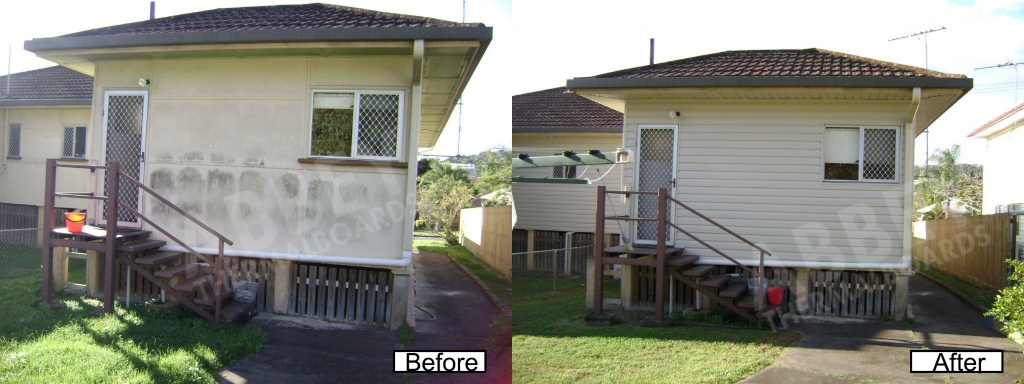The back shots before and after of cladding completed for a home by Abbey Thermalboards.