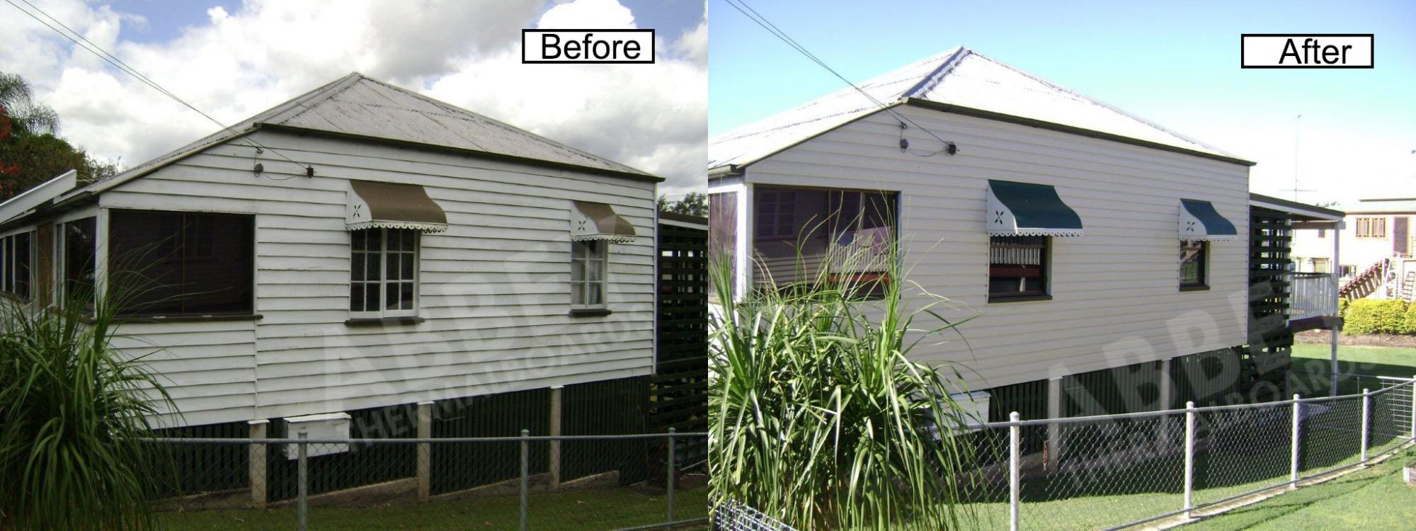 The side back view before and after shots of a home with new vinyl cladding.