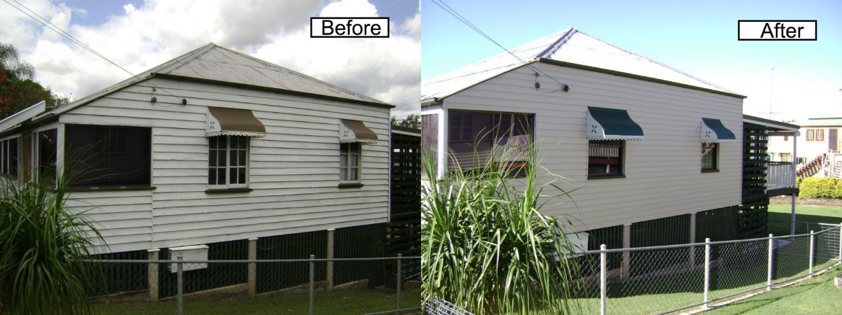 Before and after pictures of exterior cladding being applied to a house.