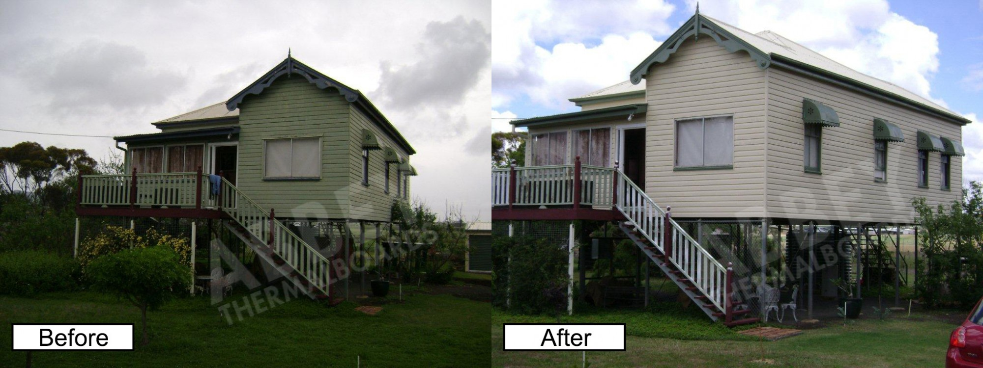 A highrise Queenslander home showing before and after cladding.