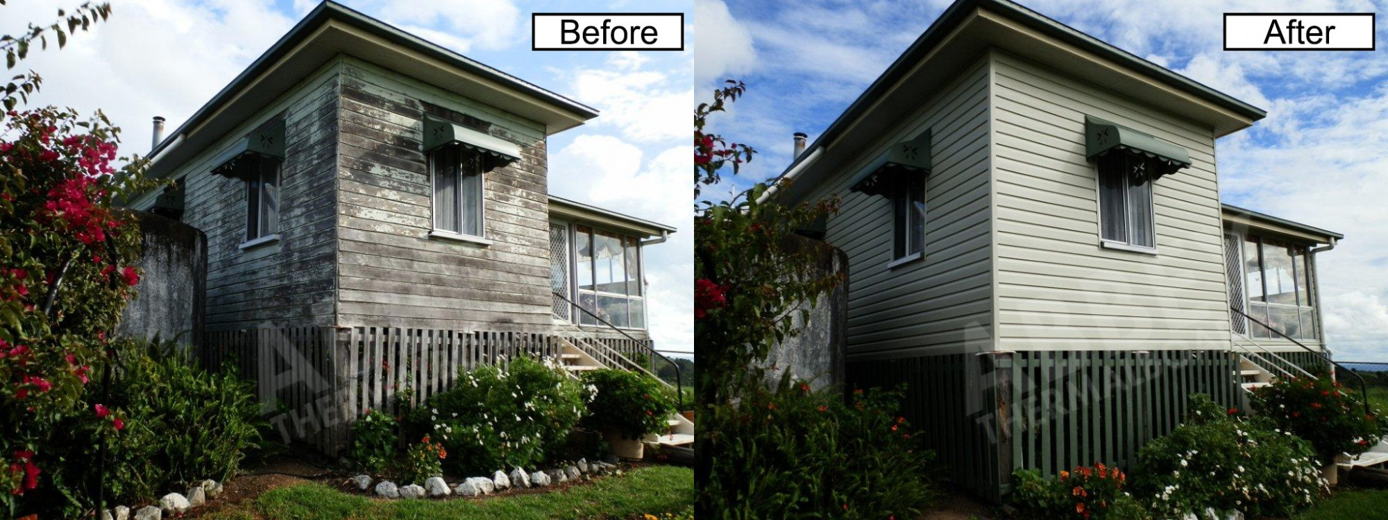 A cladding job before and after highlighting new vinyl cladding.