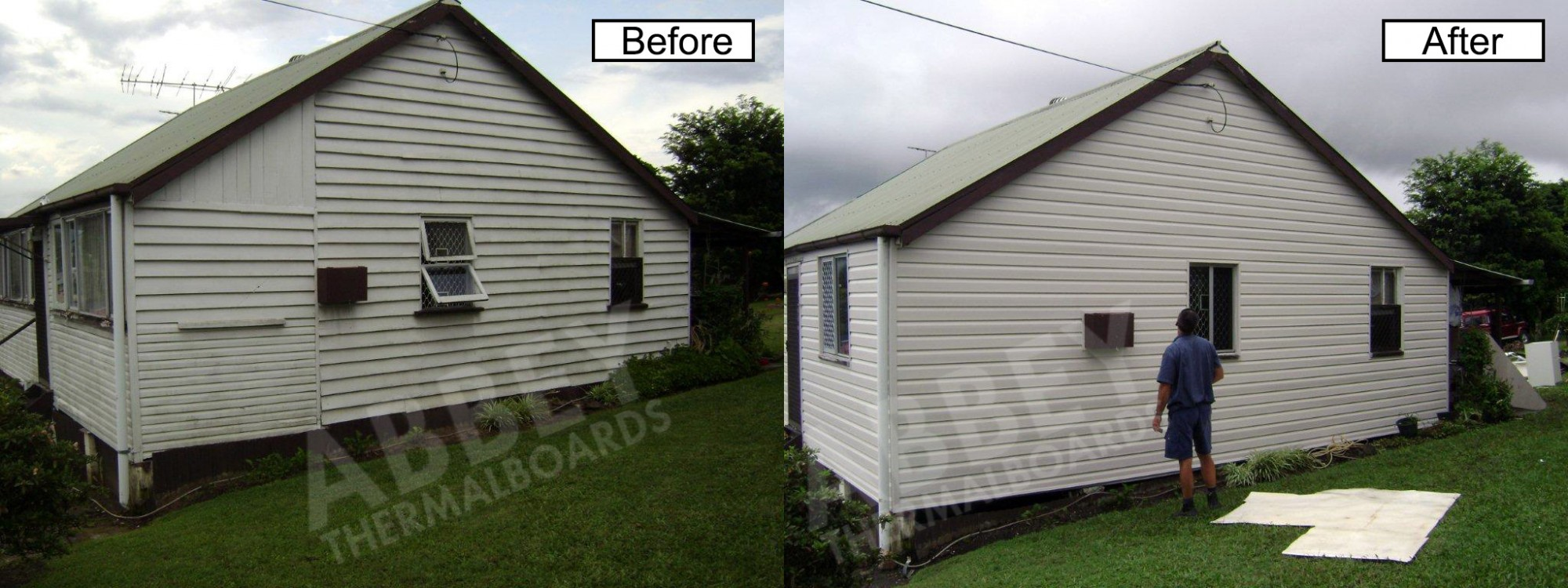 The back before and after shot of a house that has been cladded.