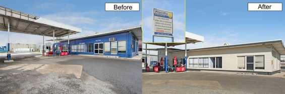 The before and after picture of cladding completed for Pacific Petroleum.