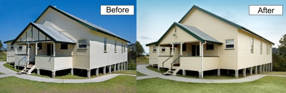 Front before and after shot of Pullenvale Hall completed with new cream vinyl cladding.