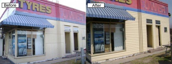 New vinyl cladding completed on this before and after picture of a tyre business.
