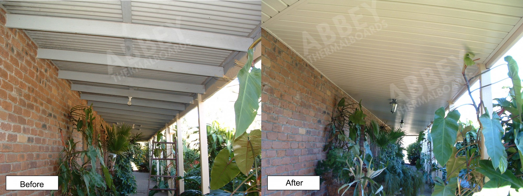 Vertical boards used in cladding showing a before and after the job perspective.