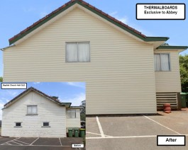 Before and after pictures of finished vinyl cladding completed for Baptist Church.