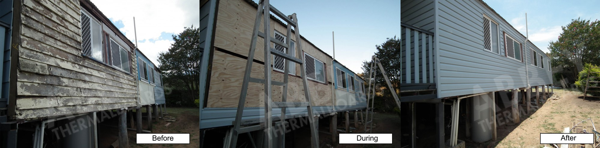 Before, during and after house cladding completed by Abbey Thermalboards.