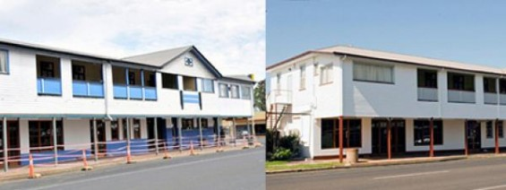 Before and after of cladding completed on 2 storey housing unit.