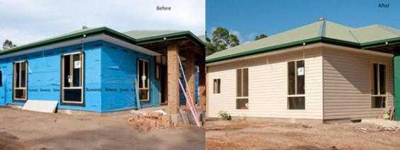 Before and after picture of a house being constructed with cladding.
