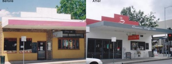 Before and after picture of a cafe with new vinyl cladding by Abbey.