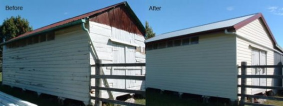 Side view of before and after picture of cladding completed on a barn.