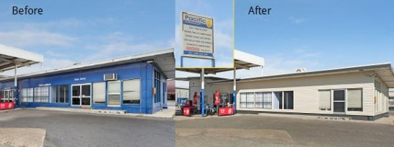 A service station before and after shot with cladding installed.