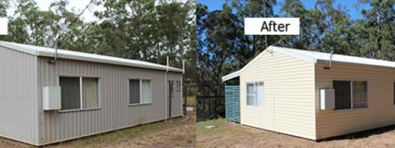 A shed with cladding installed by Abbey.