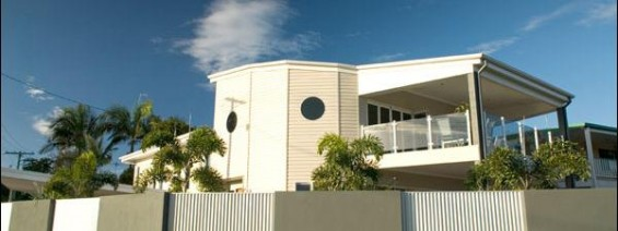 Wide shot of designer cladding on the side of a unit.