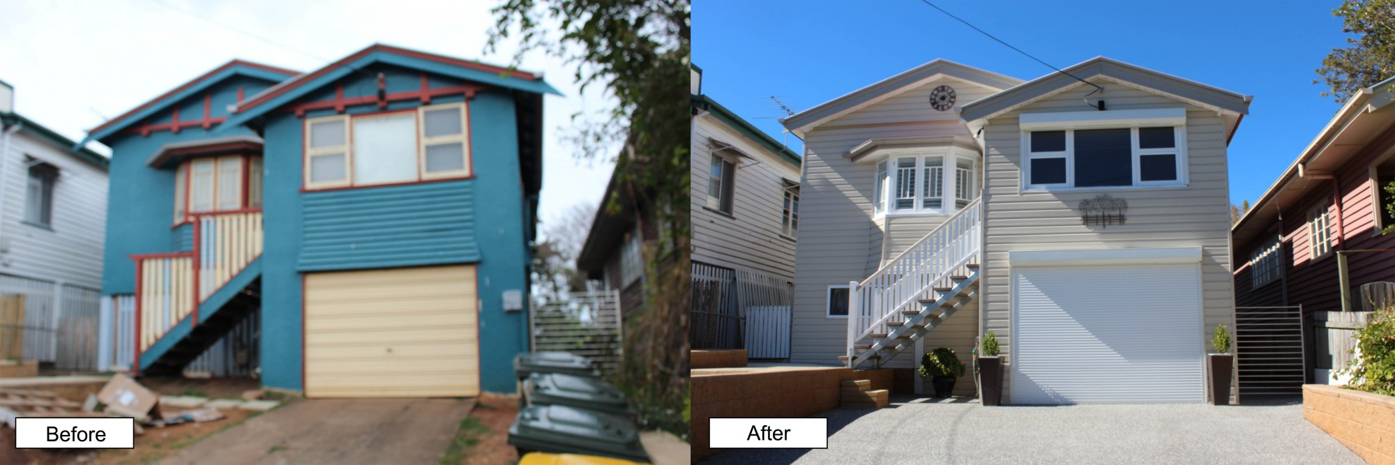 Before and after house cladding in Lismore.