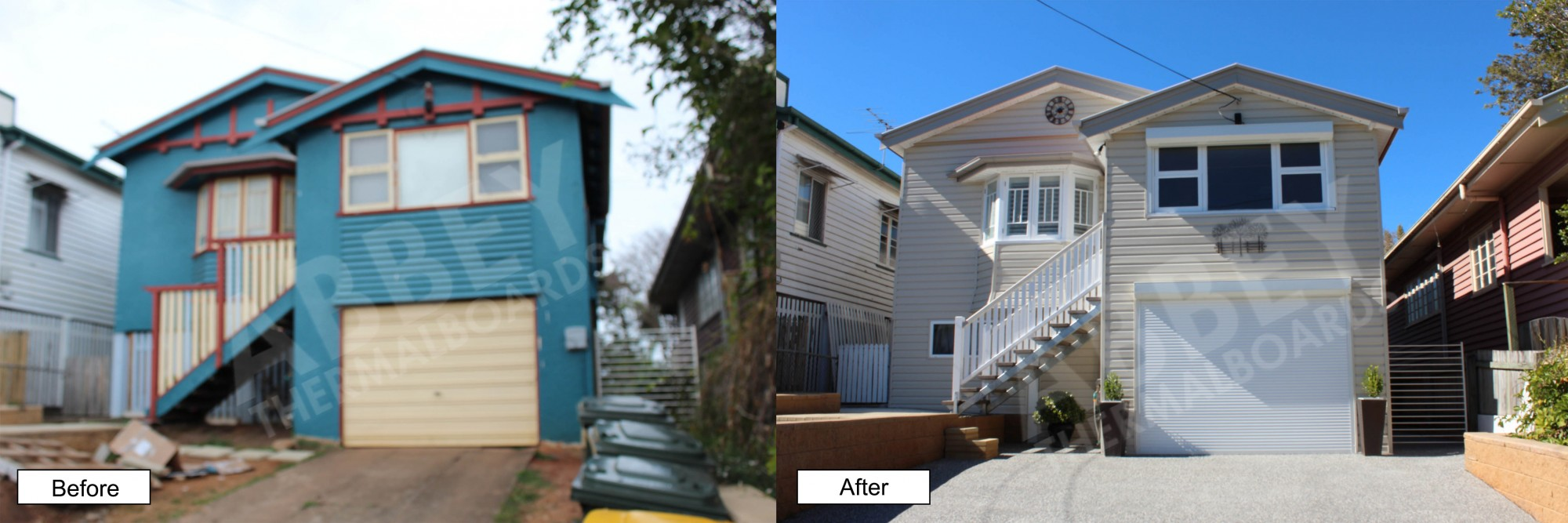 Cladding completed in this before and after shot of a previous blue 2 storey home.