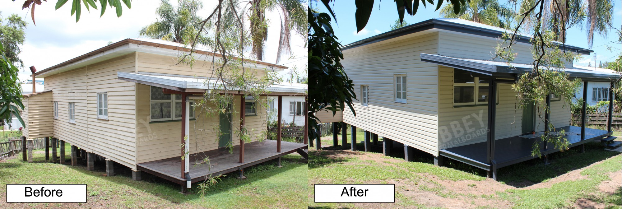 Cladding shown before and after of a rural home.