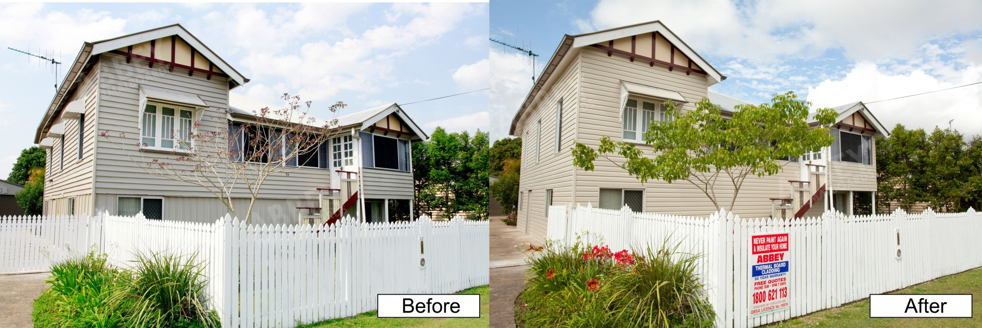 Queenslander home before and after shots of cladding installed by Abbey.