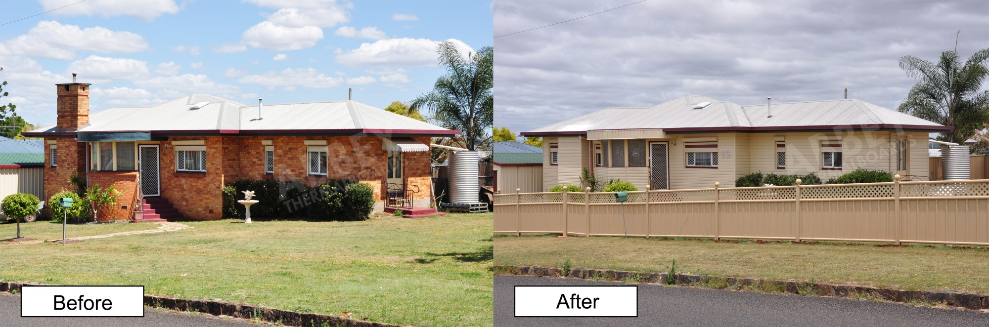Before and after of a house that we completed with new vinyl cladding.