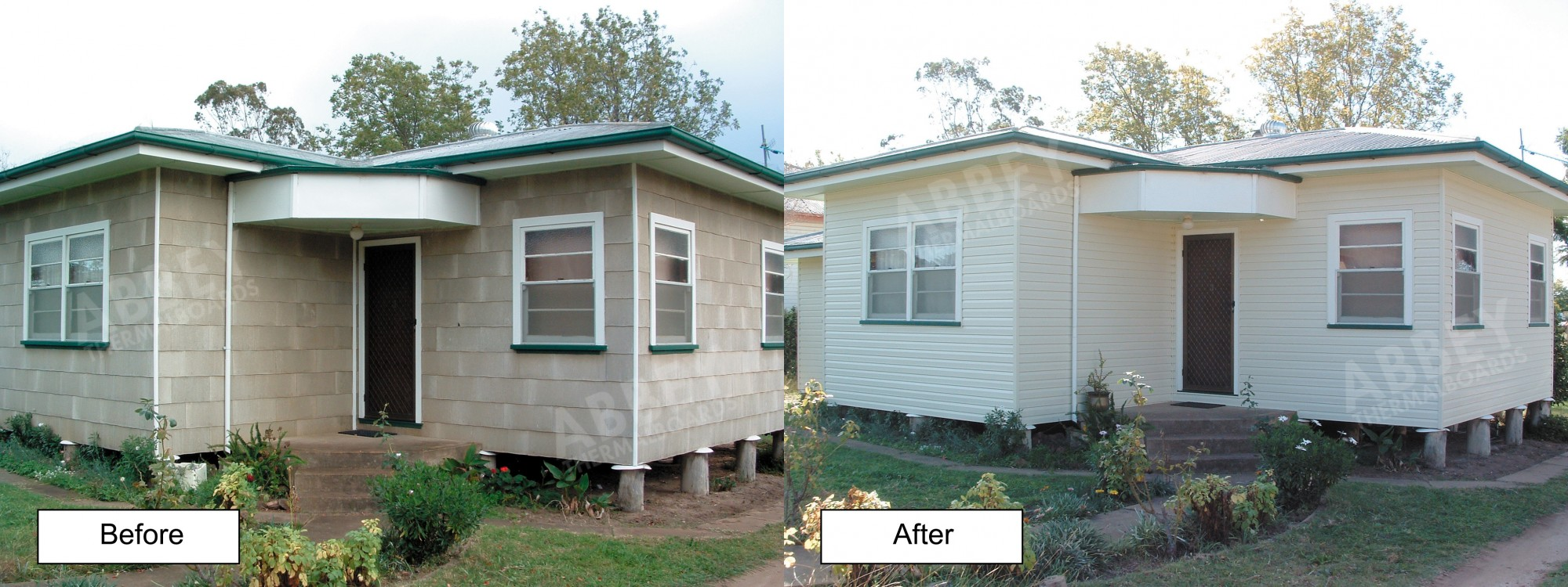 A before and after cladding job shot from a brick house.