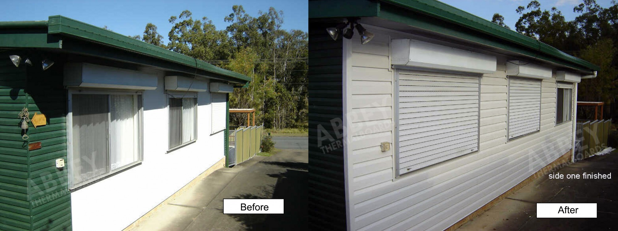 Side before and after picture of cladding completed on a home owner's shed.