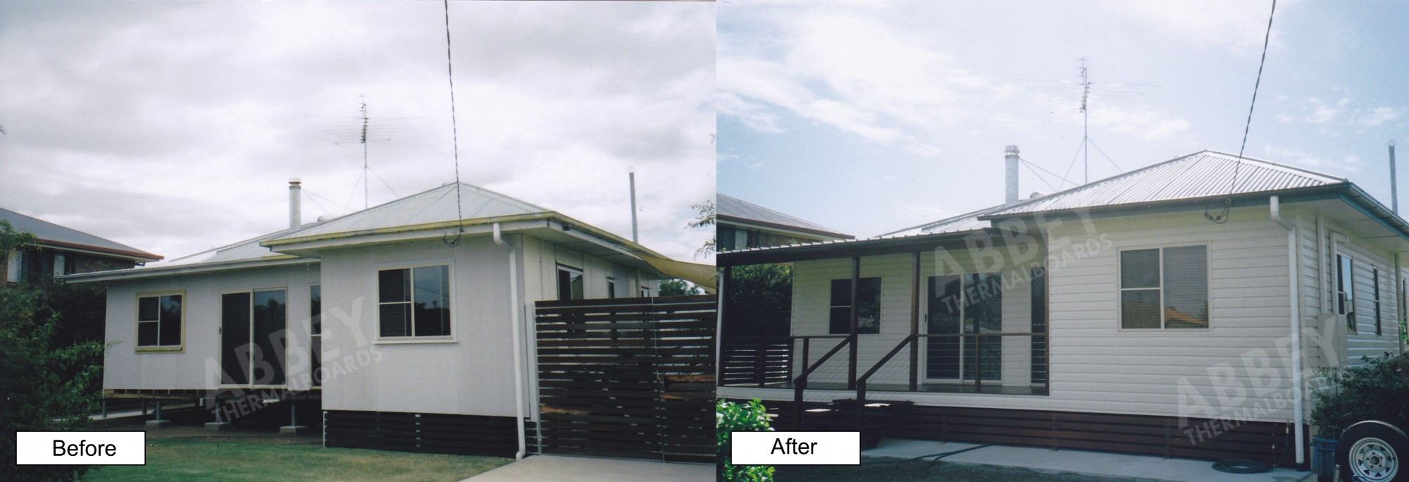 House cladding by Abbey Thermalboards showing vinyl cladding installation.