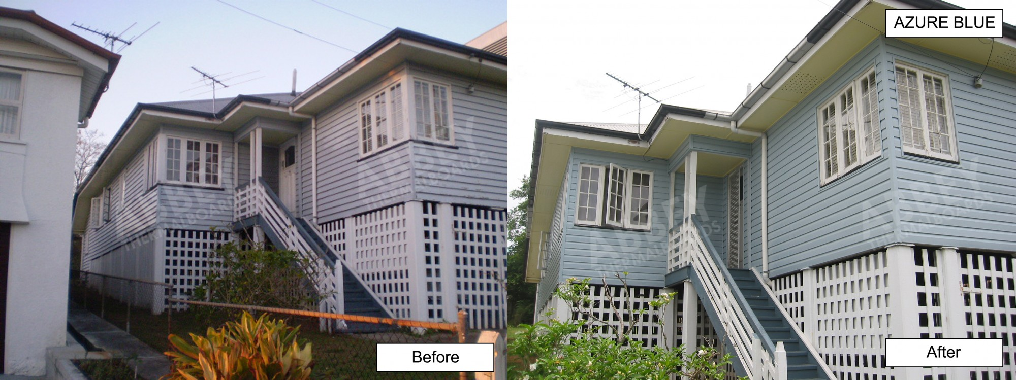 A before and after of house cladding done in Ipswich.