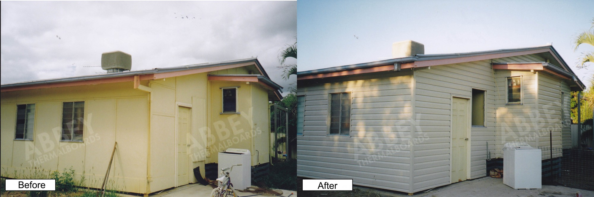 The before and after picture of a house Abbey cladded.